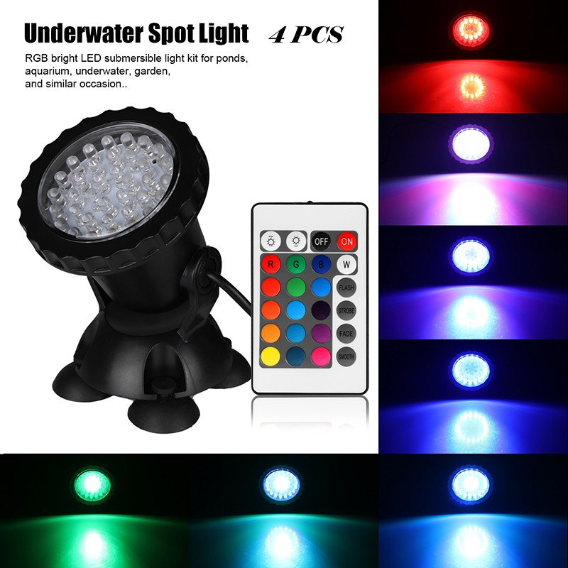 4pcs remote control rgb 36 led underwater spot light ip68 for Koi pond underwater lighting