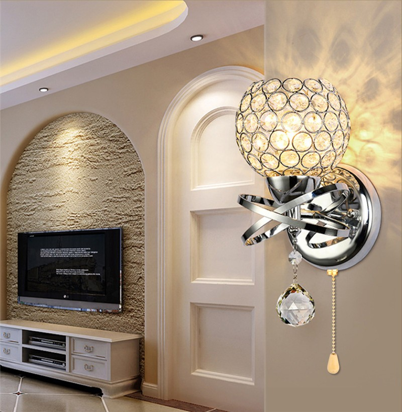 Modern Style Wall Lamp Crystal Pendant Wall Light Holder with Power Pull Switch E14 Socket
