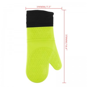 LemonBest-Thick Long Waterproof Heat Resistant Silicone Glove with Cotton Kitchen BBQ Cooking Baking Gloves