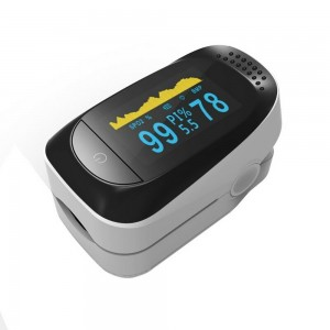 OLED Display Fingertip Pulse Oximeter Blood Oxygen Saturation Monitor + 3-layers Filter Mouth Cover