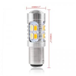 LemonBest2pcs 20W Amber/White 1157 BAY15D SMD Car Bulbs Switchback LED Drive Dual Color DRL Turn Signal Light Fog Lamp