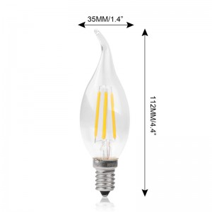 4W 360LM E14 Vintage Edison COB LED Filament Light Candle Bulb G35 AC 220V