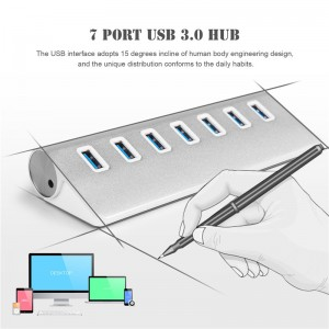 Aluminum 7 Port USB 3.0 HUB High Speed Splitter Adapter Hub  with AC Power Port for Macbook PC Laptop