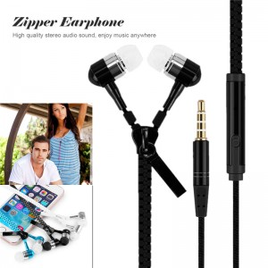 3.5mm Zipper In-Ear Stereo Earphone Headphone Headset with MIC Remote for Samsung iPhone HTC Sony LG