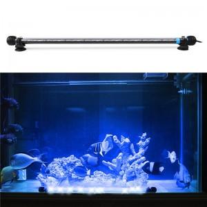 Submersible Underwater Blue / White 12 LED Aquarium Light Fish Tank Lamp with ON/OFF Switch for Pool Pond Decoration AC 100-240V UK/US/EU Plug