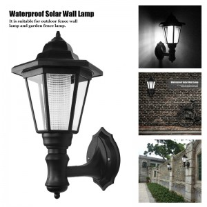 LemonBest-Waterproof Solar LED Wall Lamp Hexagonal Light Auto ON/OFF At Night for Outdoor Landscape Garden Fence Yard