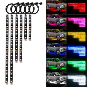 6PCS RGB Vioce Control LED Car Motorcycle Glow Lights 5050SMD Flexible Neon Strips Kit Chopper Frame