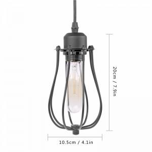 LemonBest-Mini Vintage Industrial Loft Hanging Pendant Light Black Cage Lamp E27   Socket (No Bulb Included)