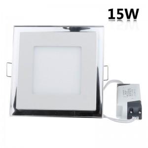 LemonBest - 15W Recessed Square Shape DuaL Color LED Panel Light Blue and White Lamp Downlight AC 100-245V