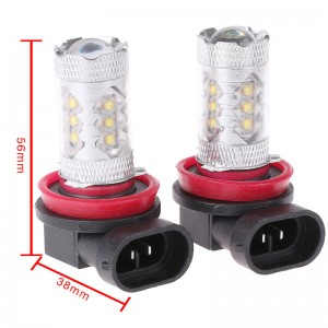 LemonBest-2 Pcs H11 80W High Power LED White Car Fog Light Head Light Turn Signal Light Tail Brake Lamp Bulb
