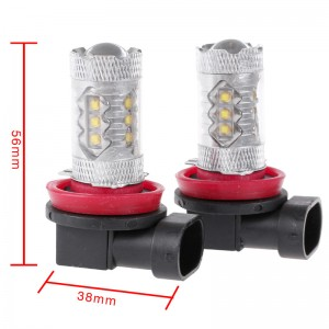 LemonBeat-2 Pcs H8 80W High Power LED White Car Fog Light Head Light Turn Signal Light Tail Brake Lamp Bulb