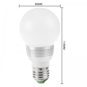 LemonBest-3W 100LM E27 RGB Bulb Light Dimmable Lamp with IR Remote 85-265V
