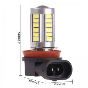 LemonBest-2pcs H11 5630 SMD 33 LED Car Fog Light Headlight Day Running Driving Lamp Bulb Cool White 12V
