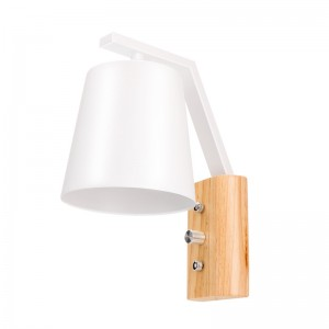 Modern Simple Nordic Style Wall Lamp Painted Iron Lampshade and Wooden Base E27 Socket Wall Sconce with Power Switch AC 220V (No Bulb Included)