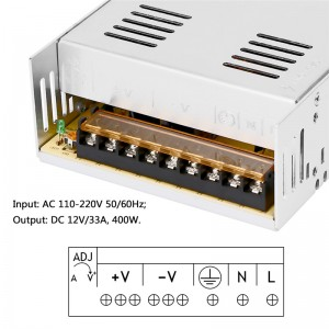 Lemonbest  - 33A 400W Voltage Transformer AC 110-220V to DC 12V Power Supply Adapter Converter for Led Strip Control Led Switch LED Display