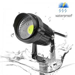LemonBest-US Plug 5W COB LED Lawn Light Garden Floodlight with Spike Yard Patio Path Spotlight Lamp Waterproof AC 85-245V