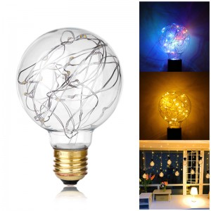 Vintage 0.8W Filament Copper Wire G80 LED Light Bulb E27 Base Ball Shape Starry Decorative for Holiday Wedding Christmas Cafe Bar Party
