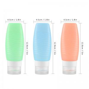 LemonBest-3pcs Silicone Travel Bottle Set Shampoo Conditioner Bottle Leak Proof Design FDA 78ml/2.5fl oz Carry-on Approvel