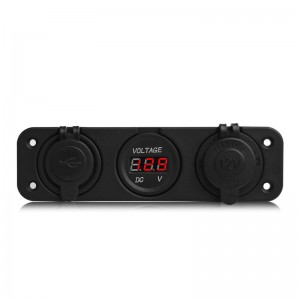 12V Dual USB Car Cigarette Lighter Socket Adapter Charger with Digital Voltmeter Display