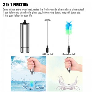 Handheld One Touch Stainless Steel Milk Frother Foamer Blender Espresso Cappucino Latte Maker Whisk Eggs with Brush Head