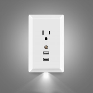 US 125V 15A AC Socket Wall Outlet with LED Night Light and 2 USB Ports Built-in Light Sensor Support 2.4A USB Smart Fast Charging