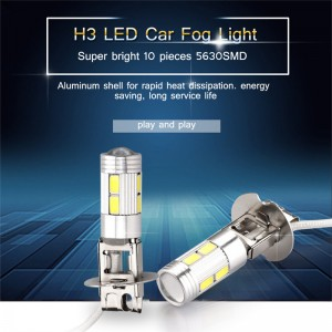 2pcs 10W 6000K H3 10-LED Car Fog Light Lamp 5630 SMD DRL Day Running Driving Lights Bulb 6000K 12V