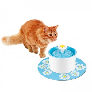 Automatic Cat Flower Fountain Mute Pet Water Dispenser Support 3 Water Flow Modes with Charcoal Filter & Anti-slip Mat for Pet Dog FDA/LFGB Approved EU Plug