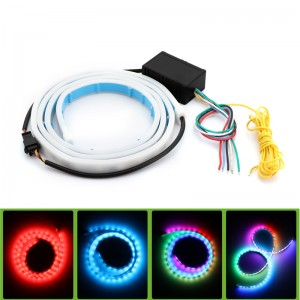 Lemonbest-Universal 120cm Car Styling RGB LED Strip Lighting Rear Trunk Tail Light RGB Dynamic Streamer Brake Turn Signal Leds Warning Lights Strips