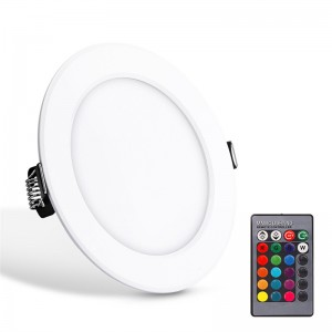 Lemonbest - Panel Light Ceiling Light RGB Round Remote Control LED Panel Light Concealed Recessed Ceiling Lamp Downlight for meeting room, store, super market bedroom 5W AC 85-265V