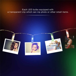 LED Photo Clip String Lights, FLOVEME 2 Meter Battery Powered Fairy Lights 20 Photo Clips Perfect for Hanging Pictures, Notes, Artwork, Cards, Painting,  - Multicolor