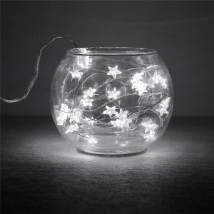 2m / 6.5ft 20-LED String Lights Fairy Light Button Battery Operated Waterproof Stars Copper Wire Lamp Indoor and Outdoor String Lamp Xmas Wedding Decor