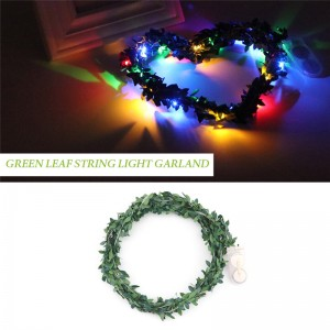 20-LEDs Waterproof Leaf Garland Battery Operate Copper LED Fairy String Lights for Christmas Wedding Decoration Party Event