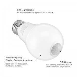 Lemonbest - Motion Sensor Bulb Led, E27 PIR Infrared Dusk to Dawn LED Light Bulb - Detection Light, Auto Switch Night Lights for Porch Patio Garage Stairs Lobby Carport Hallway Security