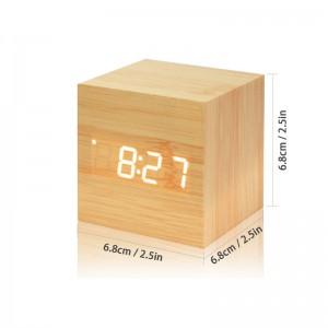 Lemonbest-Modern Wooden Cube Design Digital LED Desk Alarm Clock Thermometer Timer Calendar