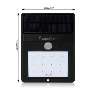 Waterproof Solar 12 LED Light Motion Sensor Wall Lamp Cool White Auto ON/OFF for Outdoor Garden Fence Yard Roof