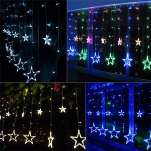 12 Twinkling Stars Christmas Fairy String Lights Window Display 48LED