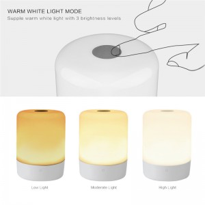 Smart RGB LED Atmosphere Light Touch Sensor Rechargeable Bedside Table Night Lamp Camp Light with Power Bank Charging for Mobile Device
