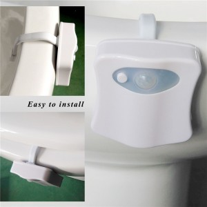 Colorful LED Motion Sensor Automatic Toilet Night Light Hanging Light Bowl with Color Setting Battery-Operated