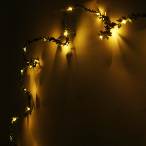 LemonBest - 5m/16.4ft 50-LED Green Leaves Garland Copper Wire String Light Fairy Lights for Glass Craft Bottle Fairy Valentines Wedding Lamp Party Xmas