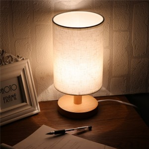 US Plug Minimalist Table Bedside Desk Lamp with Fabric Shade Solid Wood Base E27 Lamp Base for Bedroom Living Room Bookcase Cafe Hotel