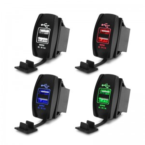 12-24V Car 3.1A Dual USB Socket Charger Power Adapter with LED Light for Iphone Samsung LG HTC