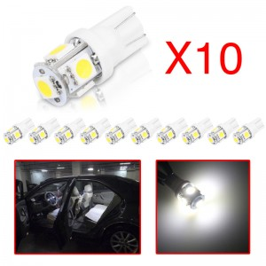 LemonBest-10Pcs T10 W5W 168 194 2825 5SMD 5050 LED Wedge Light Side Bulbs Error Free   Decoded Cool White 12V