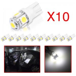 LemonBest-10Pcs T10 W5W 168 194 2825 5SMD 5050 LED Wedge Light Side Bulbs Error Free   Decoded Cool White 12V