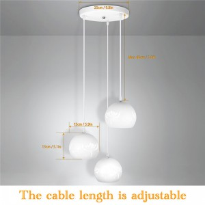 3 Light Color Mode Modern Hollow Dining Room Island Pendant Light 3-Light Kitchen Lamp SMD3528 Adjustable Length AC 85-265V
