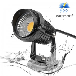 LemonBest-US Plug 5W COB LED Lawn Light Garden Floodlight with Base Yard Patio Path Spotlight Lamp Waterproof AC 85-245V