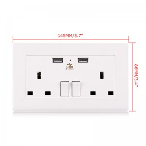 Lemonbest-250V 13A Double Socket UK Plug Wall Sockets Home Power Supply Outlet with 2 USB Outlets