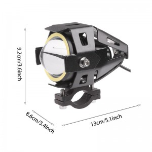 LemonBest-(Cool white)U7 125W LED Motorcycle Headlight Fog Spot Light Lamp Angle Eyes + Devil Eyes 12-80V Waterproof