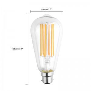 6W Vintage Edison ST64 B22 COB LED Filament Light Retro Bulb Dimmable AC 220-240V
