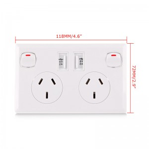 Lemonbest-Dual 2A USB Australian AU Plug Socket Home Switch Wall Power Supply Outlet   90-250V 10A