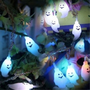 20ft/6m 30-LED Solar Power Halloween Ghost String Light Lamp Auto On At Night Decoration for Garden Home Patio Lawn Christmas Holiday Party